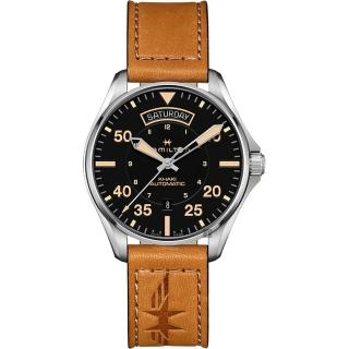 【HAMILTON 漢米爾頓】Khaki Pilot 卡其飛行員機械錶-黑x卡其色/42mm(H64645531)  HAMILTON 漢米爾頓