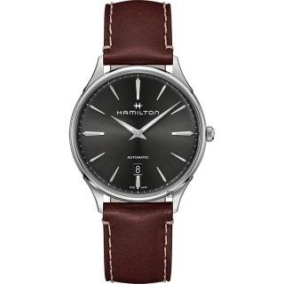 【HAMILTON 漢米爾頓】JAZZMASTER 美國經典爵士機械錶-灰x咖啡/40mm(H38525881)  HAMILTON 漢米爾頓