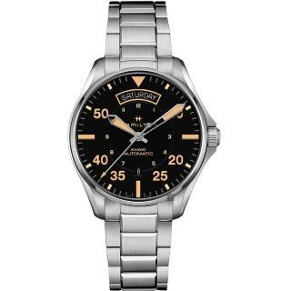 【HAMILTON 漢米爾頓】KHAKI PILOT 飛行員系列機械錶-黑x卡其色時標/42mm(H64645131)  HAMILTON 漢米爾頓