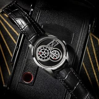 【HAMILTON 漢米爾頓】JAZZMASTER 非對稱復古電影膠捲盤機械錶-黑/42mm(H42605731)強力推薦  HAMILTON 漢米爾頓