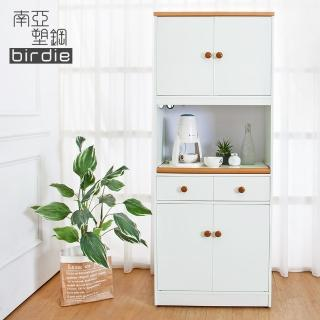 【南亞塑鋼】2.4尺四門二抽塑鋼電器櫃/收納餐櫃(白色+原木色)  南亞塑鋼