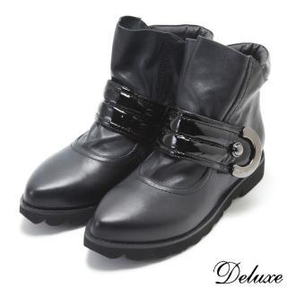 【Deluxe】全真皮率性簡約百搭厚底尖頭短靴(黑)好評推薦  Deluxe