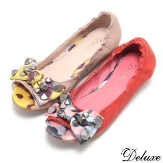 【Deluxe】全真皮鉚釘印花蝴蝶結小坡跟魚口鞋(紅☆粉)  Deluxe