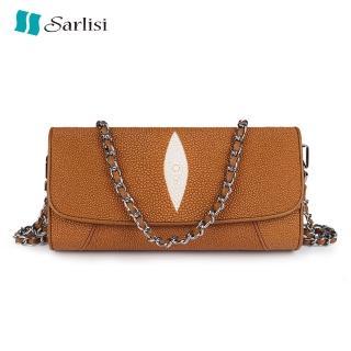 【Sarlisi】真皮女包珍珠魚皮側肩包斜背包鏈帶包(新款特價 明天漲價 原價9800 現價6980)  Sarlisi