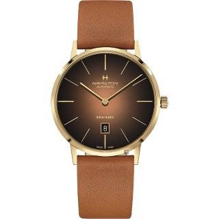 【HAMILTON 漢米爾頓】Intra-Matic 美國經典機械錶-煙燻棕(H38735501)  HAMILTON 漢米爾頓