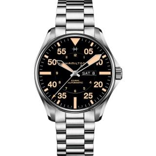 【HAMILTON 漢米爾頓】KHAKI PILOT 飛行員機械錶-黑x卡其色時標/46mm(H64725131)  HAMILTON 漢米爾頓