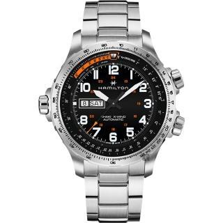 【HAMILTON 漢米爾頓】KHAKI X-Wind 御風者機械錶-黑x銀/45mm(H77755133)  HAMILTON 漢米爾頓