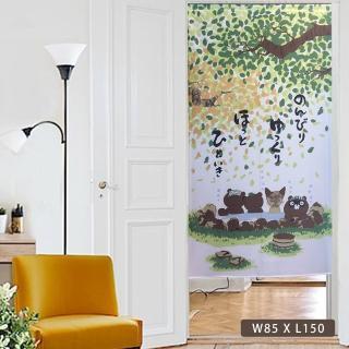 【莫菲思】芸佳 日式雅緻紋花門簾-森林溫泉 W85XL150  莫菲思