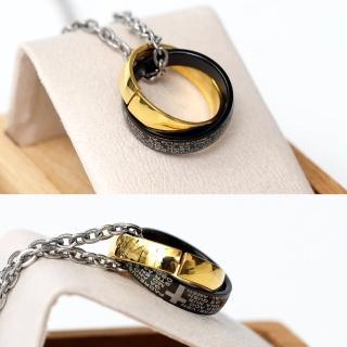 【玖飾時尚】鋼製美式黑金十字雙環(鋼鍊)  玖飾時尚
