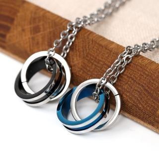 【玖飾時尚】鋼製心環心雙環單鑽對鍊(鋼鍊)  玖飾時尚
