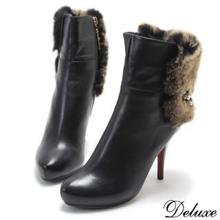 【Deluxe】全真皮氣質珍珠獺兔毛防水台高跟短靴(黑)好評推薦  Deluxe