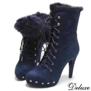 【Deluxe】全真皮潮流鉚釘暖暖兔毛防水台短靴(藍)  Deluxe