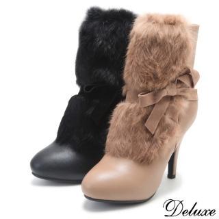 【Deluxe】蜜戀雪國兔毛蝴蝶結高跟短靴(黑★駝)  Deluxe