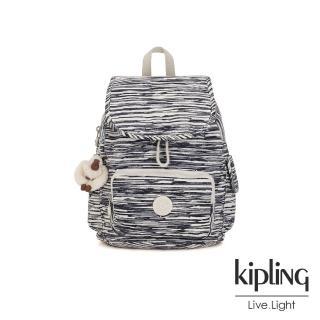 【KIPLING】線條塗鴉紋拉鍊掀蓋後背包-CITY PACK S  KIPLING