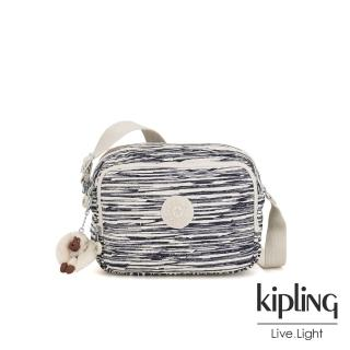 【KIPLING】線條塗鴉紋雙層側背包-SILEN  KIPLING