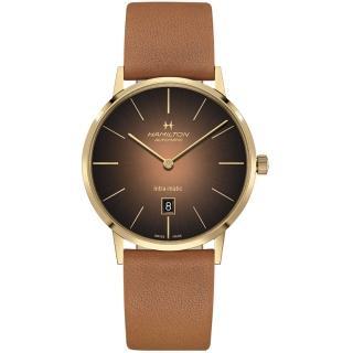 【HAMILTON 漢米爾頓】美國經典系列Intra-Matic機械腕錶-42mm(H38735501 咖啡色)  HAMILTON 漢米爾頓