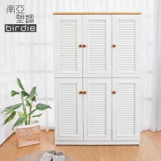 【南亞塑鋼】4尺六門塑鋼百葉高鞋櫃(原木色+白色)  南亞塑鋼