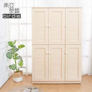 【南亞塑鋼】4尺六門塑鋼百葉高鞋櫃(白橡色)強力推薦  南亞塑鋼