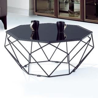 【Bernice】瑞莎2.7尺黑色造型玻璃大茶几推薦折扣  Bernice