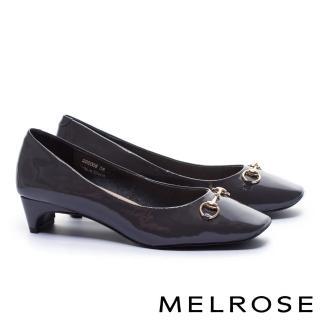 【MELROSE】復古雅緻百搭軟漆皮方頭高跟鞋(灰)  MELROSE