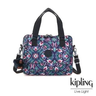 【KIPLING】熱帶萬花筒印花側翻蓋手提側背包-ZEVA強力推薦  KIPLING