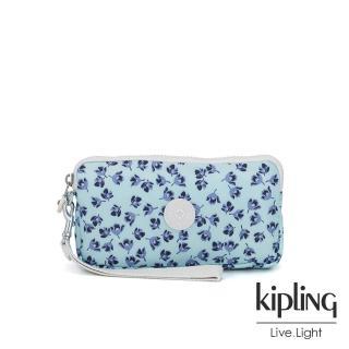 【KIPLING】典雅淡藍小花多卡層拉鍊長夾-BERNARD 推薦  KIPLING