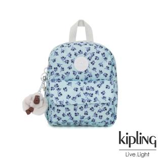 【KIPLING】典雅淡藍小花迷你後背包-ROSALIND  KIPLING