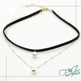 【伊飾童話】個性黑皮繩*雙層珍珠頸項鍊強力推薦  伊飾童話