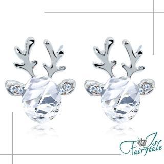 【伊飾童話】小鹿水晶*立體橢圓晶鑽耳環/白  伊飾童話