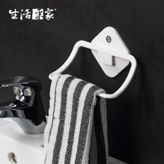 【生活采家】浴室強力無痕貼純白毛巾架(#57003)  生活采家