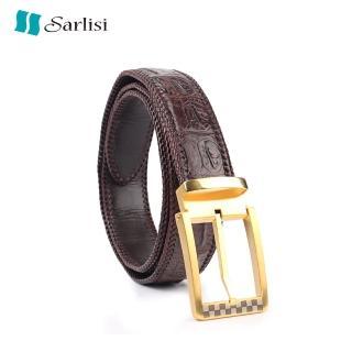 【Sarlisi】真皮針扣鱷魚皮帶男士腰帶手工編織包邊(今日特價 明天漲價 原價7980 現價5980)  Sarlisi