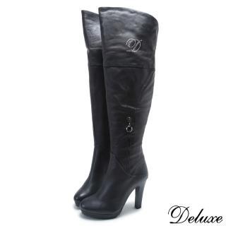 【Deluxe】全真皮璀璨水鑽造型拉鍊防水台長靴(黑)  Deluxe