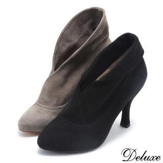 【Deluxe】全真皮日韓經典百搭高跟踝靴(咖☆黑)強力推薦  Deluxe