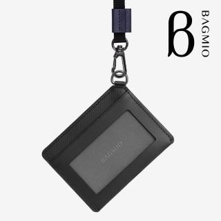 【BAGMIO】vigor 牛皮橫式證件套 墨黑 含織帶  BAGMIO