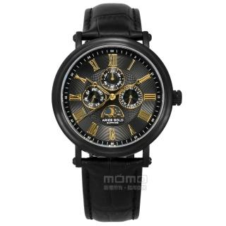 【ARIES GOLD】日月相錶 羅馬時標 藍寶石水晶玻璃 日期星期顯示 真皮手錶 黑金色 43mm(G101BK-BKG)  ARIES GOLD