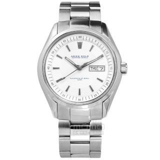 【ARIES GOLD】機械錶 自動上鍊 藍寶石水晶玻璃 日期星期顯示 不鏽鋼手錶 銀白色 42mm(G9004S-W)好評推薦  ARIES GOLD