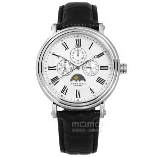 【ARIES GOLD】日月相錶 羅馬時標 藍寶石水晶玻璃 日期星期顯示 真皮手錶 白x黑 43mm(G101S-W)  ARIES GOLD