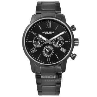 【ARIES GOLD】商務三眼 羅馬時標 藍寶石水晶玻璃 日期星期顯示 不鏽鋼手錶 黑x鍍灰 43mm(G103BK-BK)  ARIES GOLD