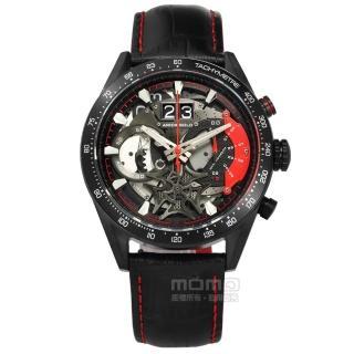 【ARIES GOLD】鏤空設計 藍寶石水晶玻璃 三眼計時 日期 防水100米 壓紋真皮手錶 紅黑色 44mm(G7008BK-R)  ARIES GOLD