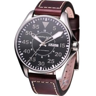 【HAMILTON 漢米爾頓】Khaki 航空飛行自動機械腕錶-黑面咖啡色皮(H64715535)好評推薦  HAMILTON 漢米爾頓