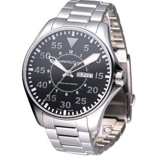 【HAMILTON 漢米爾頓】Khaki 航空飛行自動機械腕錶-黑色(H64715135)  HAMILTON 漢米爾頓