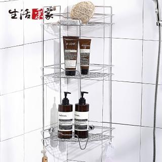 【生活采家】台灣製304不鏽鋼浴室掛放二用角落收納棚(#27012)  生活采家