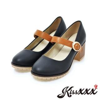 【KissXXX】小圓頭時尚粗跟撞色瑪莉珍單鞋(黑)  KissXXX