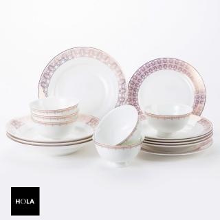 【HOLA】凱莎骨瓷16件湯盤組 可適用微波爐及洗碗機 推薦  HOLA