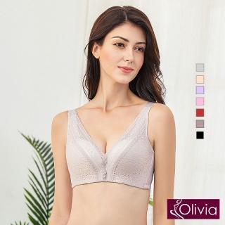 【Olivia 奧莉葳】無鋼圈3D立體深V綻放蕾絲內衣(咖啡)  Olivia 奧莉葳