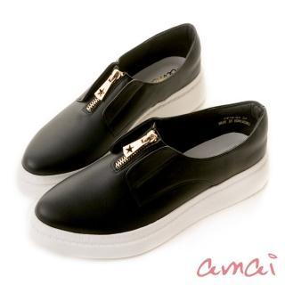 【amai】《穿厚底來摘星》前低後高後底休閒鞋(黑)  amai