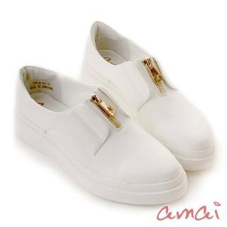 【amai】《穿厚底來摘星》前低後高後底休閒鞋(白) 推薦  amai