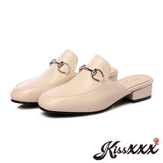 【KissXXX】小方頭時尚金釦百搭低跟拖鞋 穆勒鞋(米)好評推薦  KissXXX