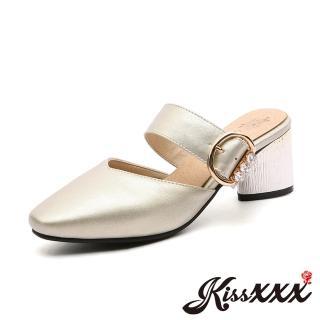 【KissXXX】小尖頭V形淺口美鑽釦木紋粗跟拖鞋 穆勒鞋(金)好評推薦  KissXXX