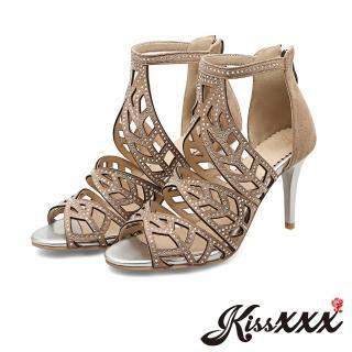【KissXXX】縷空葉紋造型美鑽典雅高跟涼鞋(米)  KissXXX